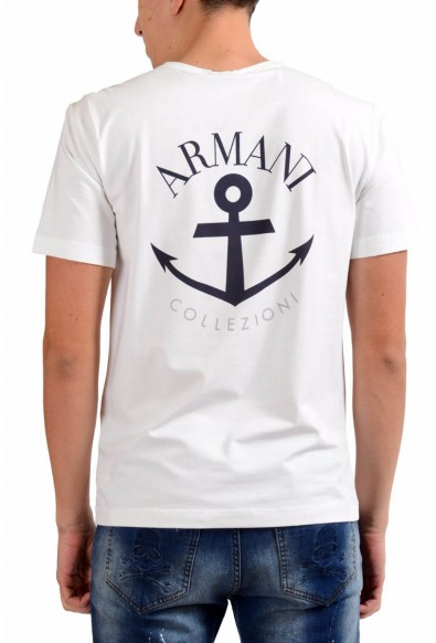 Armani Collezioni Men's White Crewneck Print Short Sleeve T-Shirt: Picture 2