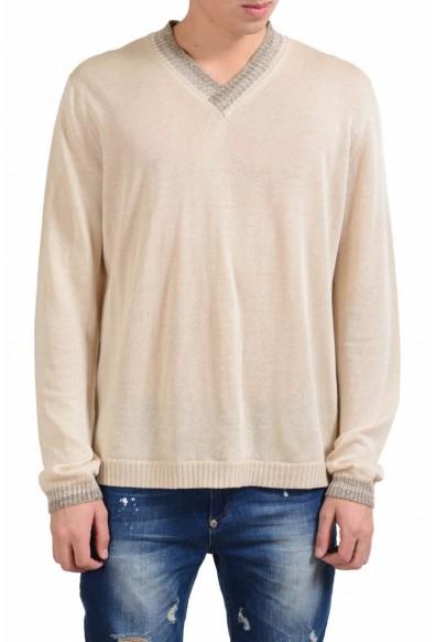 Malo Beige Men's Silk Linen V-Neck Light Sweater