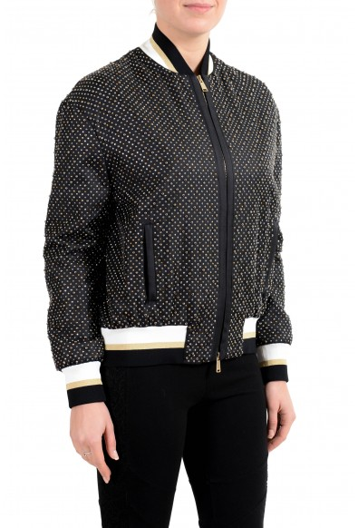 Versace Women's 100% Silk Black Studded Full Zip Bomber Jacket: Picture 2