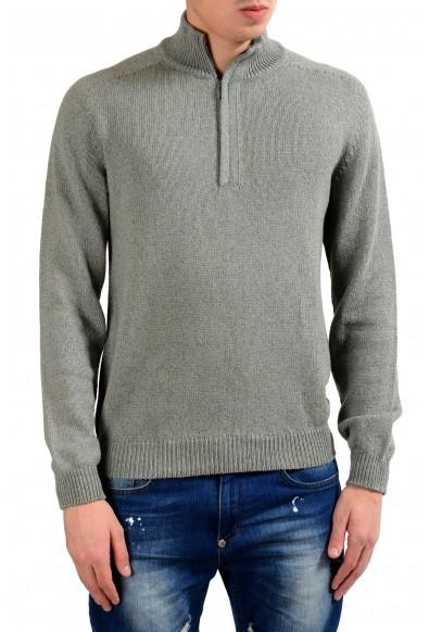 Malo Men's Cashmere Silk Gray 1/2 Zip Sweater