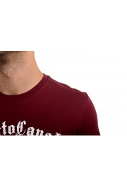 Roberto Cavalli Men's Burgundy Graphic Print Crewneck T-Shirt: Picture 4