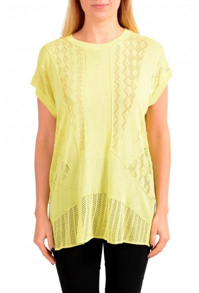 Just Cavalli Women's Yellow Short Sleeve Blouse Top