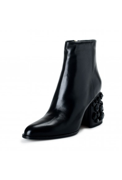 Marni Women's Black Leather Beaded Heeled Ankle Boots Shoes