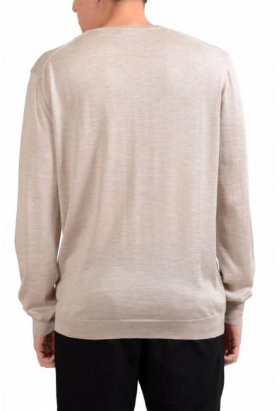 Malo Men's Beige Silk V-Neck Cashmere Light Pullover Sweater: Picture 2