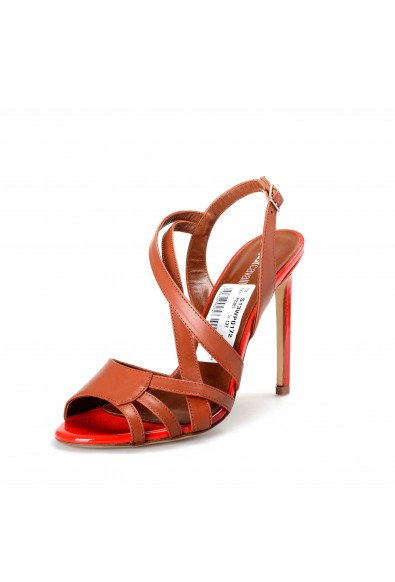 Just Cavalli Women's Brown Leather High Heel Sandals Shoes