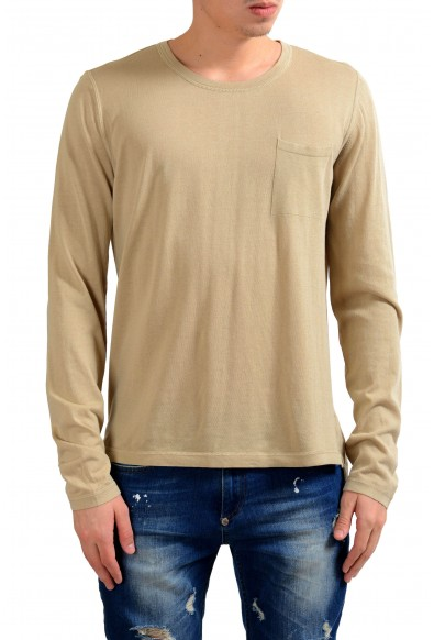 Malo Men's Crewneck Beige Long Sleeve Casual Shirt
