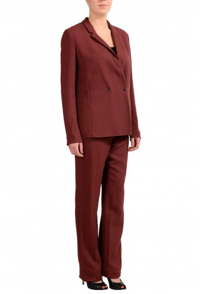 """Hugo Boss """"Jaftina"""" Women's Burgundy Wool Double Breasted Pant Suit : Picture 2"""