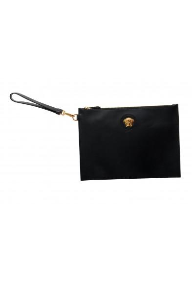 Versace Women's Black Leather Gold Medusa Clutch Handbag Bag