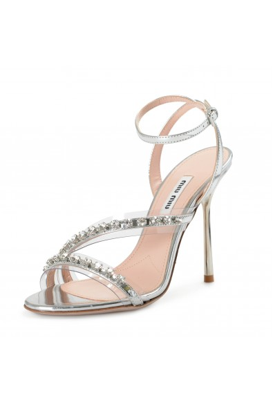 Miu Miu Women's 5X390C Sparkle Leather High Heel Sandals Shoes