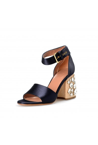 Marni Women's Black Satin Leather Heeled Ankle Stripe Sandals Shoes