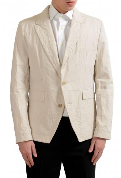 Dolce & Gabbana Men's Beige Creased Look Blazer Sport Coat