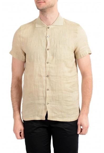 Malo Men's Beige 100% Linen Short Sleeve Casual Shirt