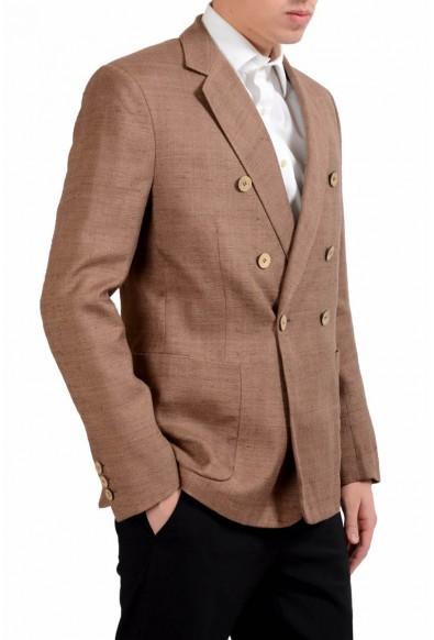 Malo Men's 100% Silk Brown Double Breasted Blazer Sport Coat: Picture 2