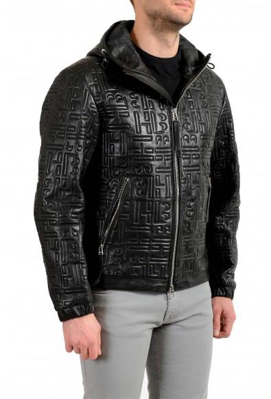 """Hugo Boss Men's """"Arock2"""" 100% Leather Black Hooded Bomber Jacket: Picture 2"""