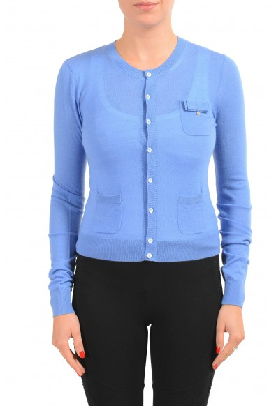 Dsquared2 Women's 100% Wool Blue Light Cardigan Sweater