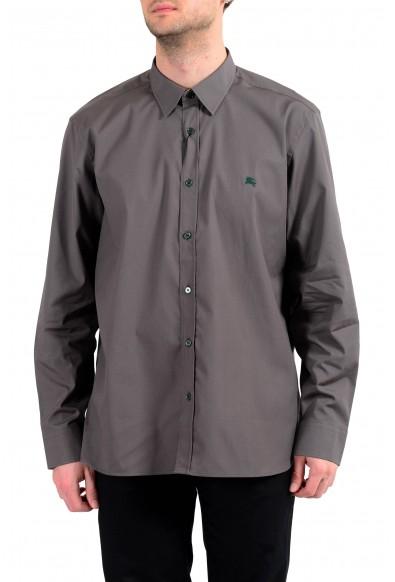 Burberry Men's Gray Long Sleeve Button Down Shirt