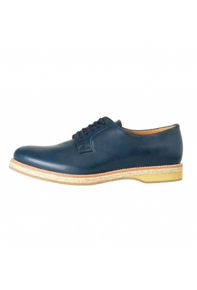 Prada Men's Blue Leather Casual Lace Up Oxfords Shoes: Picture 2