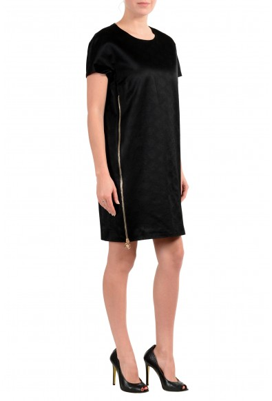 Versace Women's Black Short Sleeve Zip Designed Tunic Dress: Picture 2
