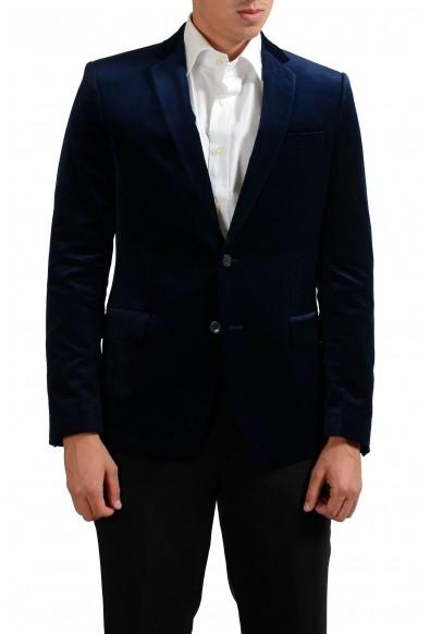 Versace Collection Navy Two Button Men's Velour Blazer