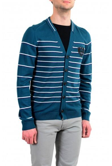 Just Cavalli Men's 100% Wool Striped Cardigan Sweater: Picture 2