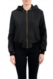 Versace Women's Black Zip Up Hooded Bomber Jacket