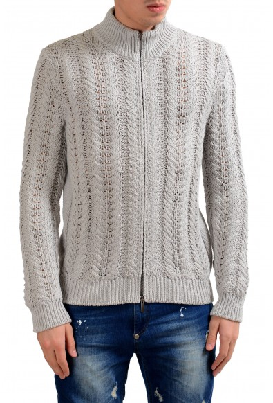 Malo Men's Silk Cashmere Full Zip Heavy Knitted Sweater