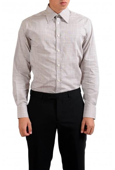"Versace Collection ""City"" Gray Checkered Dress Shirt"
