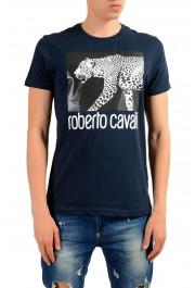 Roberto Cavalli Men's Blue Graphic Print Leopard T-Shirt