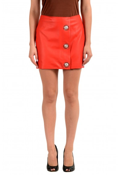 Versus by Versace Women's 100% Leather Bright Red Mini Skirt