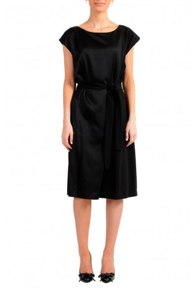 """Hugo Boss Women's """"Drapena"""" Black Belted Sleeveless Dress"""