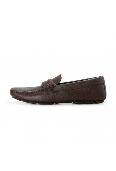 Prada Men's 2DD158 Brown Textured Leather Loafers Slip On Shoes: Picture 2