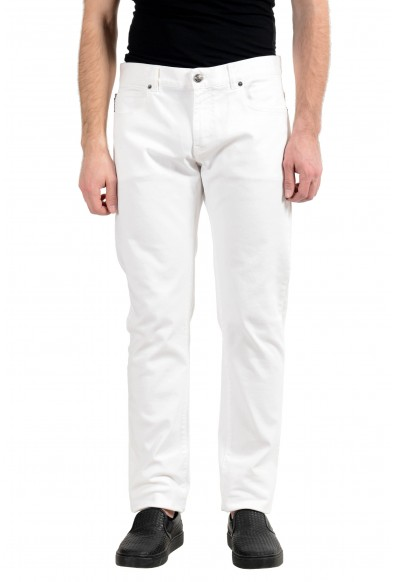 Versace Men's White Stretch Cody Fit Slim Jeans