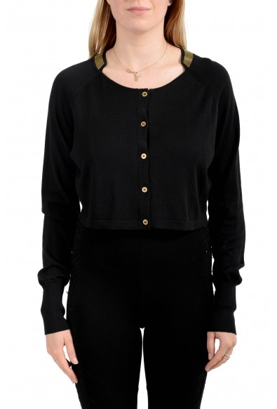Versace Collection Women's Silk Button Down Cropped Sweater Top