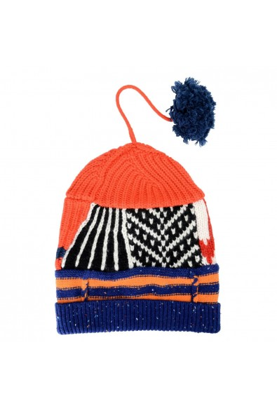 Burberry Unisex Cashmere Wool Multi-Color Patchwork Pompon Beanie Hat
