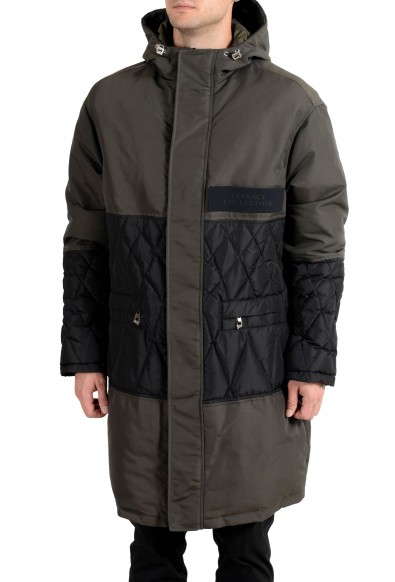 Versace Collection Men's Olive Green Down Full Zip Hooded Coat