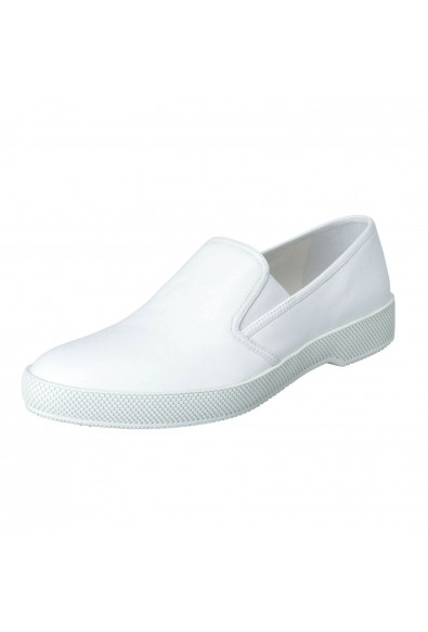 Prada Women's White Leather Moccasins Loafers Flats Shoes