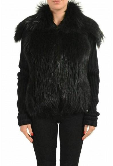 Versace Women's Wool Raccoon Fur Black Button Up Knitted Jacket