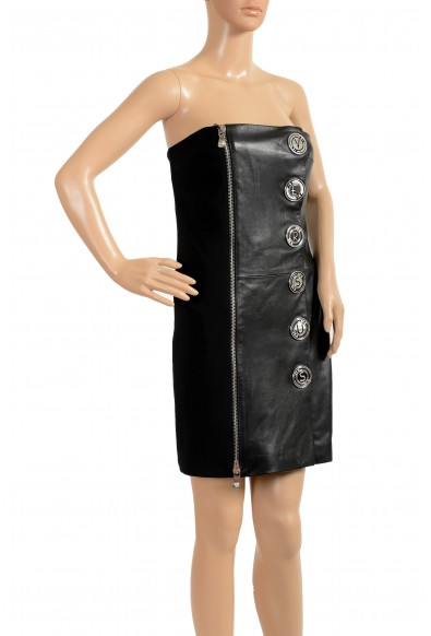 Versace Versus Women's Leather Black Embellished Strapless Mini Dress: Picture 2