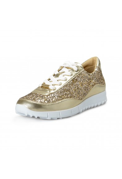 Jimmy Choo Women's Monza Sparkle Gold Leather Fashion Sneakers Shoes