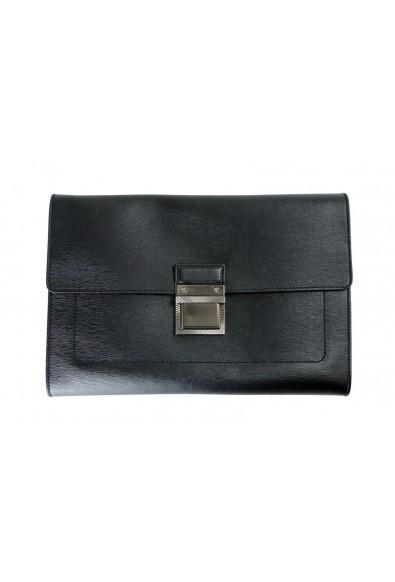 Versace Women's Black Textured Leather Clutch Bag
