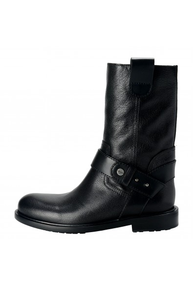 Jimmy Choo Paddox Men's Leather Black Biker Boots Shoes: Picture 2