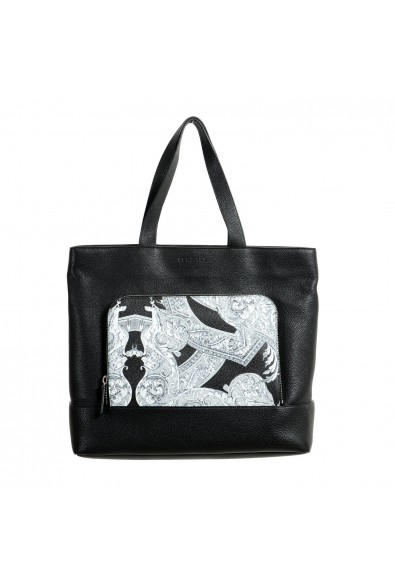 Versace Unisex Black Leather Large Tote Shoulder Bag