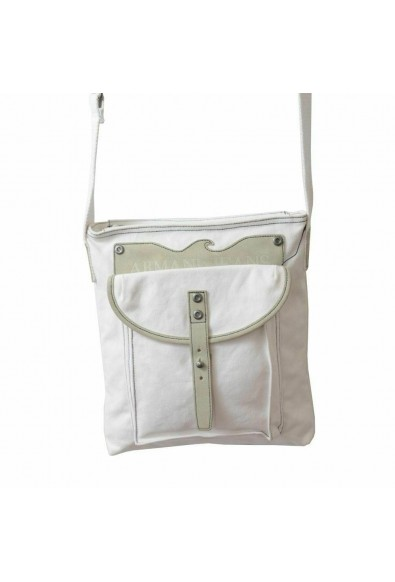 Armani Jeans Unisex White Leather Trimmed Cross Body Messenger Bag: Picture 2