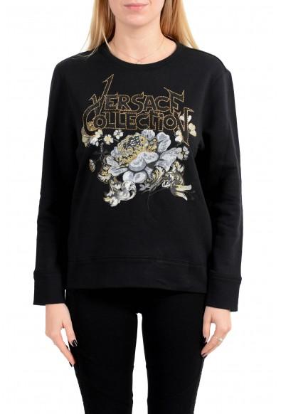 Versace Collection Women's Black Embellished Sweatshirt