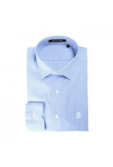 Roberto Cavalli Men's Bluish Slim Long Sleeve Dress Shirt
