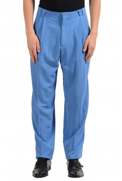 Versace Men's 100% Wool Blue Pleated Dress Pants