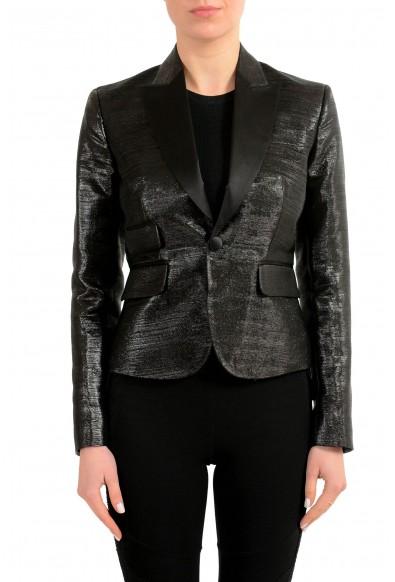 Dsquared2 Wool Silk Sparkling Black One Button Women's Blazer