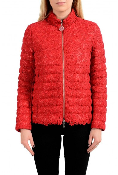 "Moncler ""Sorbier"" Down Feather Red Full Zip Women's Puffer Jacket"