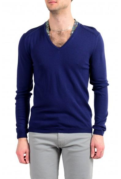 Just Cavalli Men's 100% Wool Dark Blue V-Neck Sweater