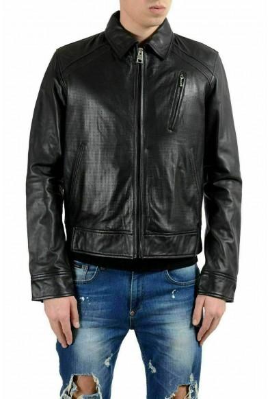 Just Cavalli Men's 100% Leather Black Full Zip Jacket